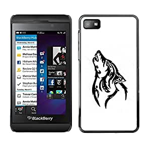 Shell-Star Arte & diseño plástico duro Fundas Cover Cubre Hard Case Cover para Blackberry Z10 ( Howling Wolf Dog Minimalist Black )