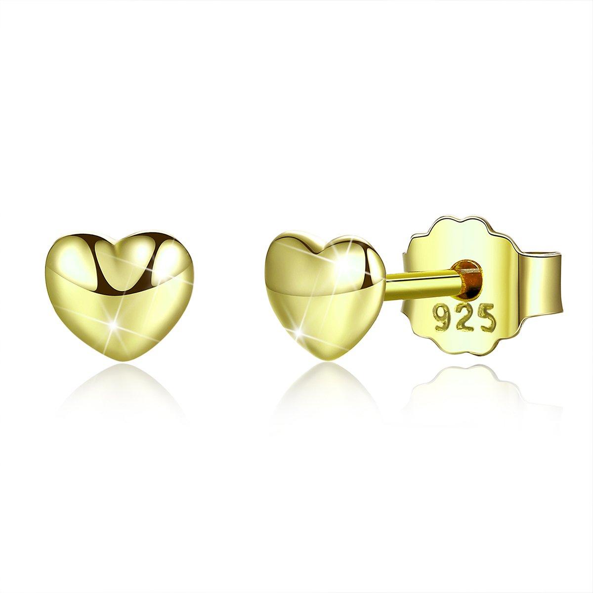 Bamoer 18K Gold Plated Love Heart Shape Earrings Stud for Anniversary Gift