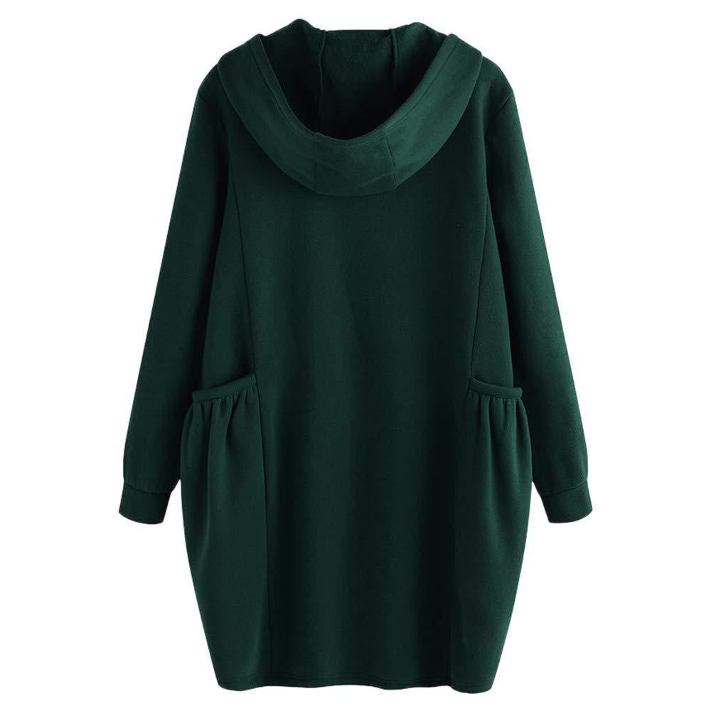 Franterd Women Two Big Pockets Warm Coats Shaggy Solid Loose Hooded Coat Winter Warm Jacket