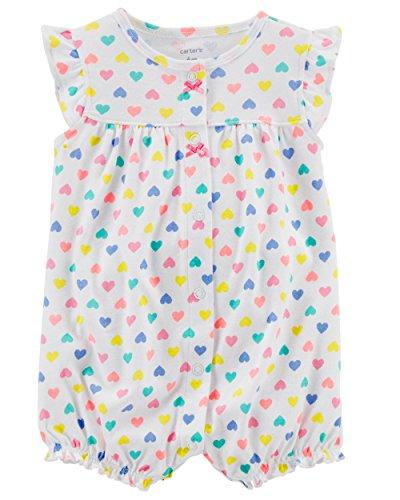 Carter's Baby Girls' Ground Rainbow Snap up Cotton Romper (24 Months, Multi/White Heart)