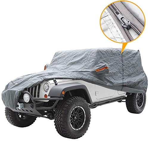 Big Ant Car Cover for Jeep Wrangler CJ,YJ, TJ & JK 4 Door All Weather Protection Waterproof SUV Cover Customer Fit for Jeep Wrangler with Driver Door Zipper up to 190