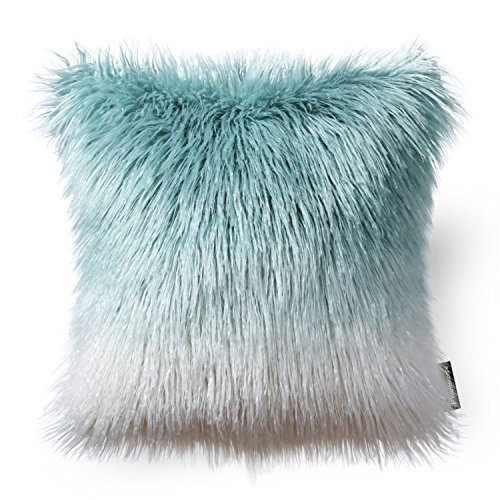 Phantoscope Decorative New Luxury Series Merino Style Blue and White Fur Throw Pillow Case Cushion Cover 18