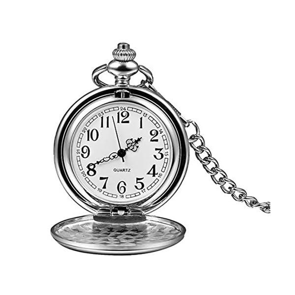 Silver Smooth Surface Quartz Pocket Watch Fob Chain Steampunk White Dial 6