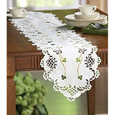 Collections Etc Embroidered Irish Shamrock Table Runner