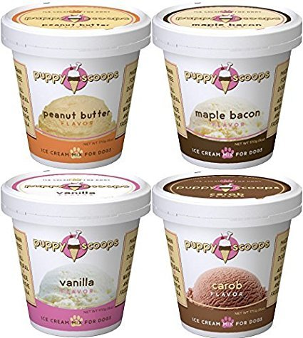 8 Pint Variety Pack of Puppy Scoops Dog Ice Cream Mix. Ice Cream for Dogs. 2 Vanilla, 2 Carob. 2 Maple Bacon, 2 Peanut Butter. Tasty Dog Ice Cream!!! For Sale