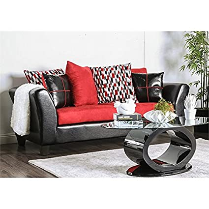 Amazon.com: Furniture of America Haddon Faux Leather Sofa in Red and ...