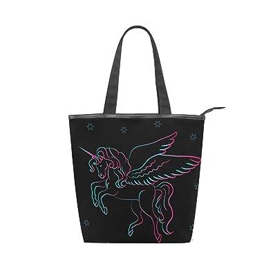 31952f3ebc84 Amazon.com: IMOBABY Unicorn Canvas Large Shopping Tote Bag Zippered ...