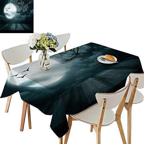 UHOO2018 Printed Fabric Tablecloth Square/Rectangle Halloween backgroun Wooden Floor blurre Full Moon Style Wedding Party Restaurant,50 x 73inch
