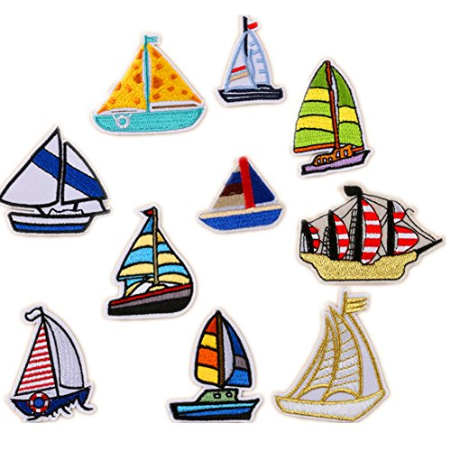 アイロン刺繍ワッペン 帆船 10個セッ アイロン シール両用 アップリケ 子供 キッズ 幼児 小学生 幼稚園 男の子 入学祝い