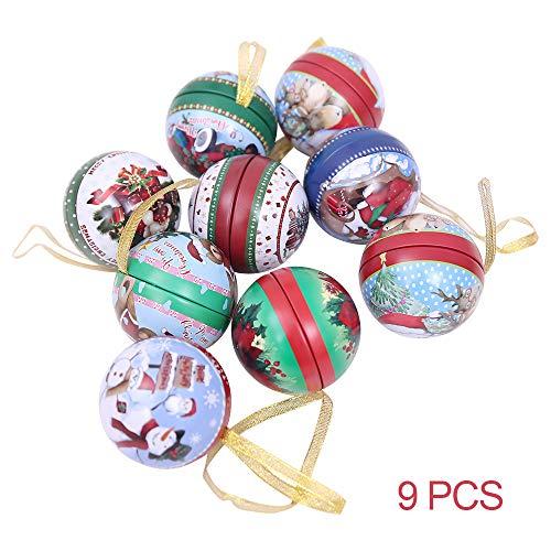 ElementDigital 9Pcs Tinplate Round Ball Boxes Creative Christmas Shatterproof Tree Candy Iron Balls Pendant, Xmas Detachable Candy Box Hanging Ornament Seasonal Decorations Kid's Holiday Surprise Gift