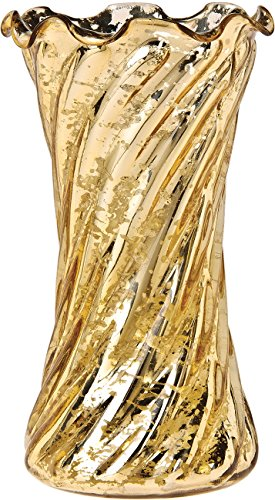 (Luna Bazaar Vintage Mercury Glass Vase (6-Inch, Grace Ruffled Swirl Design, Gold) - Decorative Flower Vase - For Home Decor and Wedding Centerpieces)
