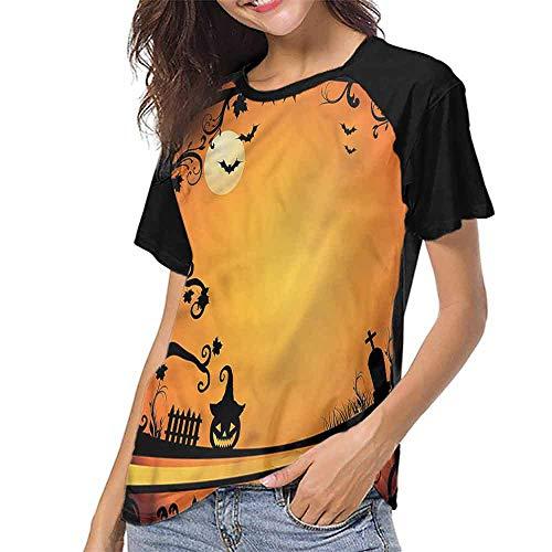 Raglan Short Sleeve Shirts,Vintage Halloween,Grave and Pumpkin S-XXL Summer Women's Short Sleeve T-Shirt]()