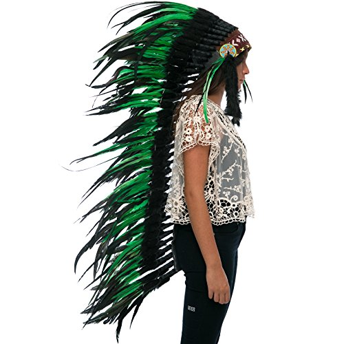 Extra Long Feather Headdress- Native American Indian Inspired- Handmade by Artisan Halloween Costume for Men Women with Real Feathers - Green-Black Rooster -
