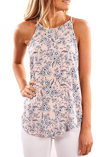 YUNY Womens Loose Print Sleeveless Tank Top Chiffon Blouse T-Shirt Pink XL