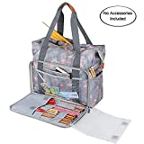 Teamoy Knitting Shoulder Bag, Yarn Storage Tote for Yarn and Unfinished Project, Crochet Hooks, Knitting Needles and Accessories (NO Accessories Included) (Flamingo)