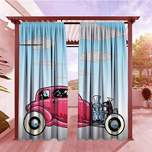 Thermal Insulated Blackout Curtains Cars Decor Collection Old Classic American Hot Rod Car with Large Engines Modified for Linear Speed Graphic Work Darkening Thermal Insulated Blackout W96x84L Blue