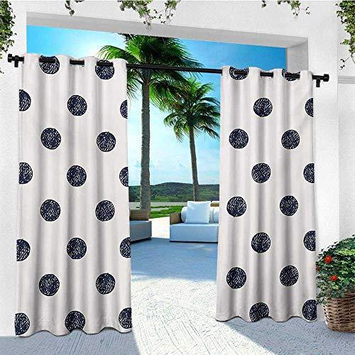 - leinuoyi Polka Dots, Outdoor Curtain Panels Set of 2, Grunge Murky Round Nostalgic Circle Little Vintage Ovals Feminine Pattern, for Gazebo W96 x L96 Inch Dark Blue Pearl