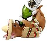 Atlantic Collectibles Adorable Mexican Chihuahua Poncho Sombrero Decorative Wine Bottle Holder Rack Figurine