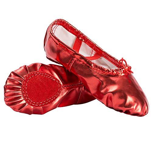 (XJX Girls Leather Ballet Dance Shoes Split Sole Ballet Slipper Yogu Shoes Red 25)