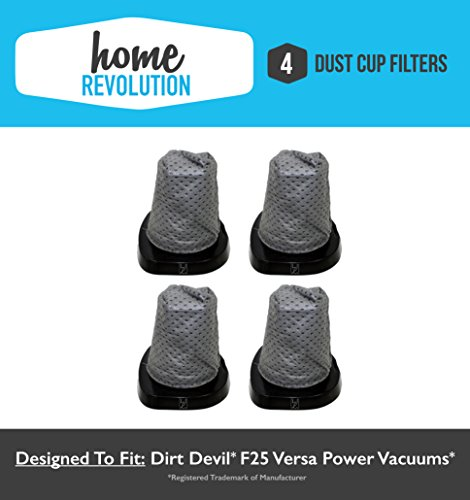 4 Dirt Devil F25 Home Revolution Brand Dust Cup Filter Replacement, Compares to Part # 2SV1102000
