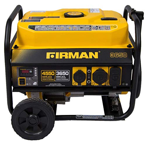 Power Equipment P03602 Gas Powered 4550/3650 Watt Portable Generator with Wheel Kit Black Yellow Uncategorized
