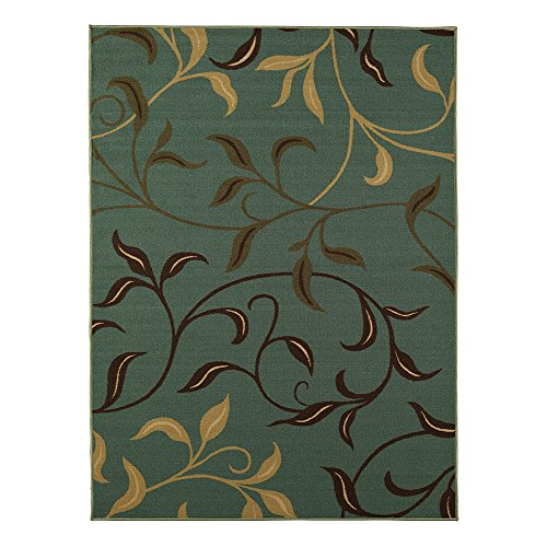 Ottohome Collection Sage Green / Aqua Blue Contemporary Leaves Design Modern Area Rug (3'3