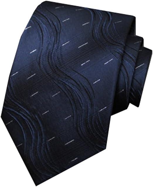 Y-WEIFENG Corbata de Seda para Hombres, Modelo de ondulación Azul ...