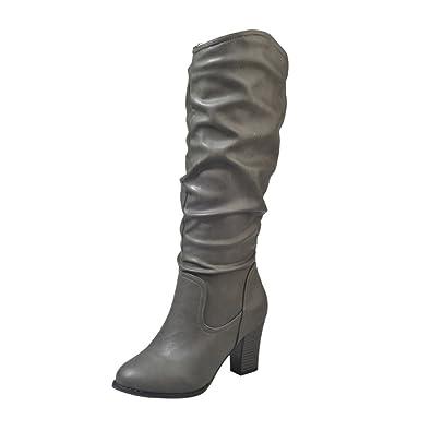 315a7bf20dc25 Bottes Femme Binggong Femmes Mocassins en Cuir brodés Bottes mi-Mollet  Occasionnelles Chaussures à Talons