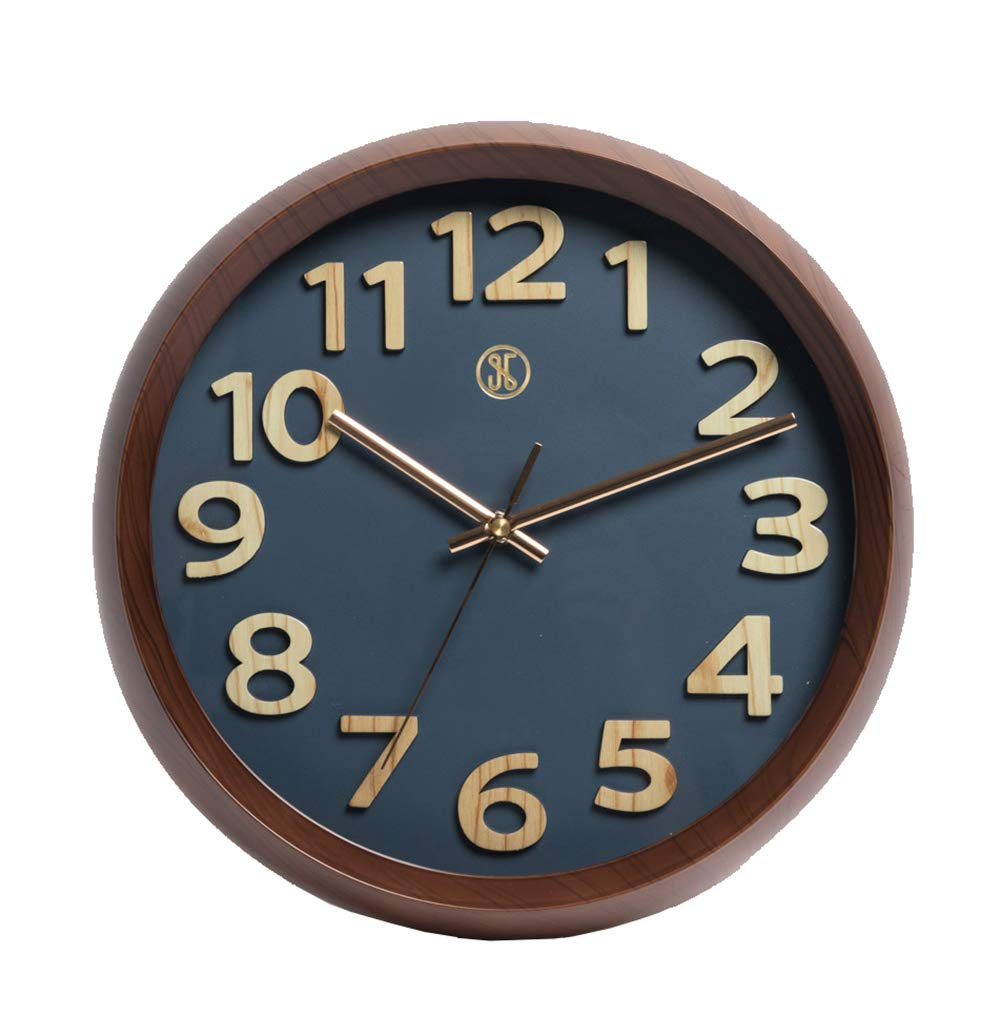 A.Cerco x JustNile 12'' Dark Brown Plastic Wood Grain Design Frame Precise Non-ticking Sweep Movement Wall Clock, Navy Blue Face Rose Gold Hands, Modern Decor for Bedroom Living Room Kitchen Office