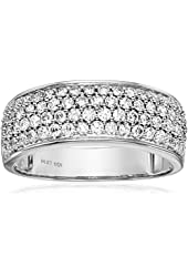 14k White Gold Diamond Pave Anniversary Ring (1 cttw, H-I Color, I1-I2 Clarity)