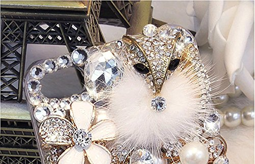 """Bligli 2015 [Extreme Luxury][Bling Diamond] Crystals [Fox][Rabbit Fur] [Pearls Flowers]Clear Cover Case For Apple iPhone 6 4.7""""/iPhone 6s"""
