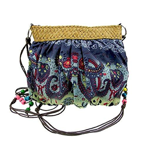 Donalworld Girl Hipster Flower Cloth Crossbody Purse Straw Bag Blue