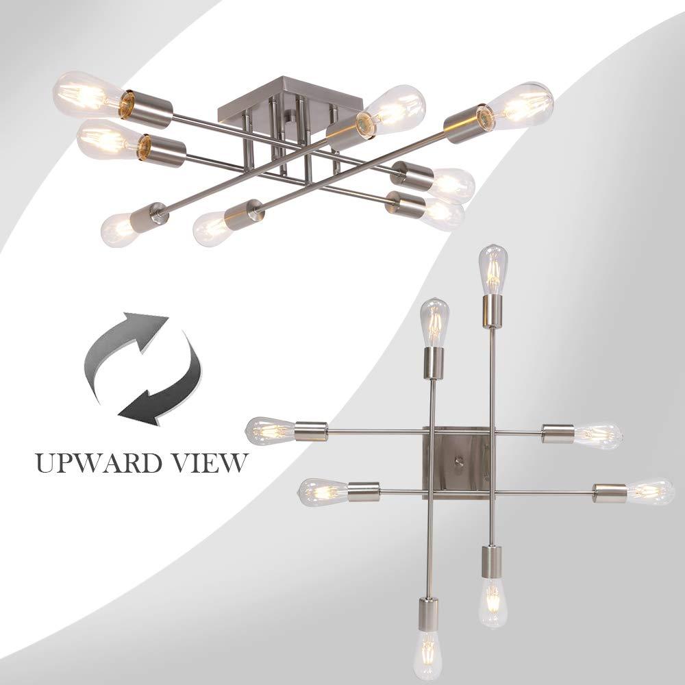 8 Light VINLUZ Industrial Semi Flush Mount Ceiling Light Brushed Nickel Mid Century Modern Sputnik Chandelier Fixture for Living Room Bedroom Kitchen
