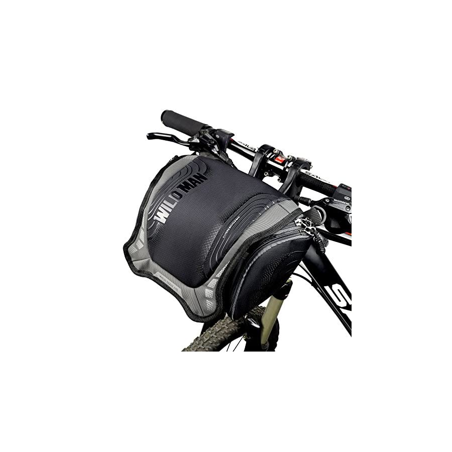 WLIDMAN Bicycle bags Front Handlebar Basket Frame Bag,Built in Rain Cover with Sliver Grey Reflective Stripe Outdoor Activity Bicycle Pack Accessories