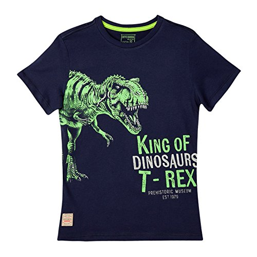 OFFCORSS Big Boy Teen Kid Multi Colored Printed Plain Solid Color Short Sleeve T- Shirt Casual Tee Neon Prime Pocket Camisetas de Niño Grande Blue 10