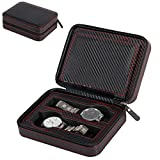 QEES 4 Slots Luxury Men's Watch Box Carbon Fiber Jewelry Collection Holder Travel Organizer PD12
