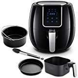 AAOBOSI Air Fryer XL, Oil Free Air Fryer, 5.6 Qt Digital Air Fryer, 1800 Watts, Large Capacity, Extra Free Accessories, Black