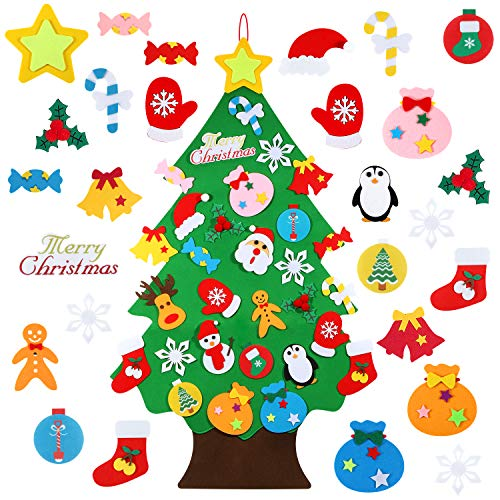 TOBEHIGHER Felt Christmas Tree  312 FT 3D DIY Set for Kids with 30 Pieces of Ornament Decor Wall Hanging Christmas Tree Decorations