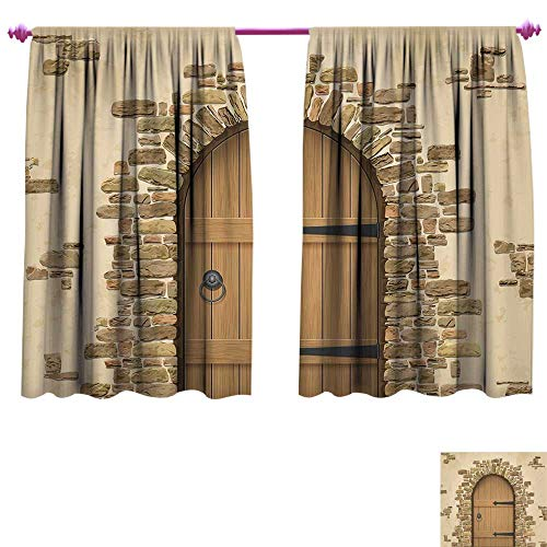 (Rustic Blackout Window Curtain Wine Cellar Entrance Stone Arch Ancient Architecture European Building Customized Curtains W55 x L45 Sand Brown Pale Brown)