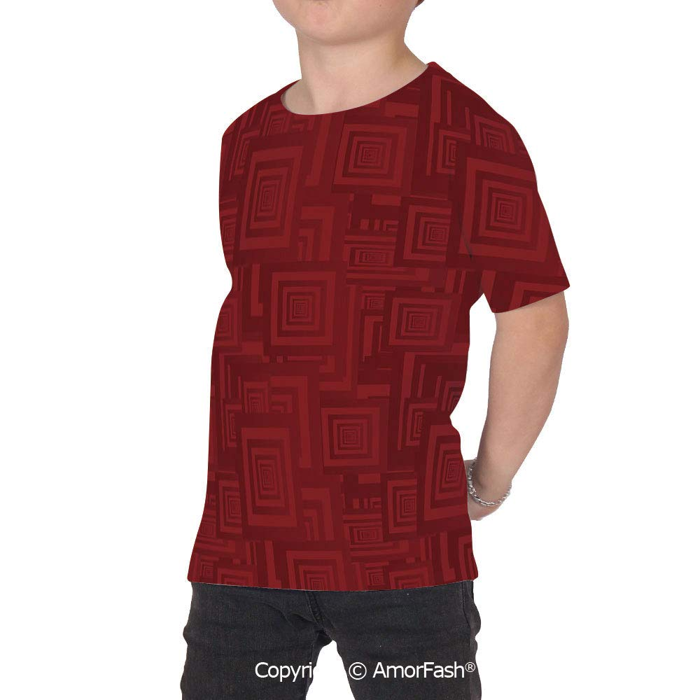 PUTIEN Maroon Girl Short-Sleeve Crewneck Polyester T-Shirt,Nested Rectangles