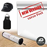 Heat Transfer Vinyl HTV Roll- 12 inch by 10 Feet for T-Shirts,Garments, Heat Press Iron On Vinyl for Circuit & Silhouette Cameo,White Rolls