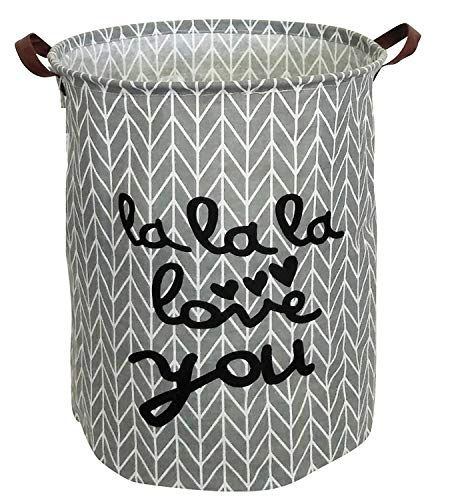 Jashem Large Laundry Basket Hamper with Leather Handle Waterproof Round Canvas Collapsible Tall Storage Basket 19.7