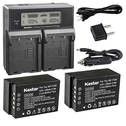 Kastar LCD Dual Fast Charger + 2X Battery for Fujifilm NP-T125 NPT125 Battery, Fujifilm BC-T125 Battery Charger, Fujifilm GFX 50S GFX50S GFX 50R GFX50R GFX 100 GFX100 Camera and Fujifilm VG-GFX1 Grip