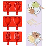 Silicone Ice Cream Popsicle Molds - Silicone Ice Pop Molds Ice Cream Maker Molds with 100 Wooden Sticks BPA Free with 100 Wooden Sticks