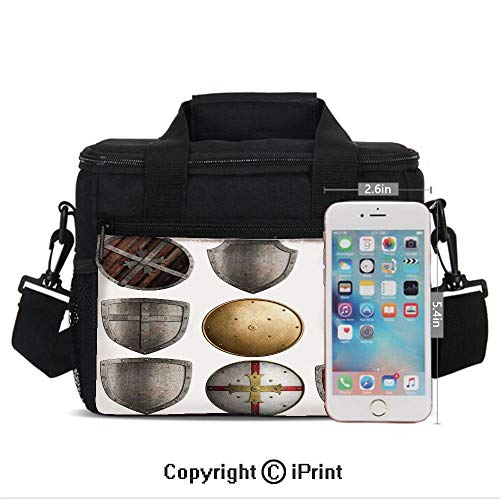 Portable Insulated Cold Shields Set Triangle Cross Pattern Ancient Weapon Protection Rustic Design Print Picnic Carry Case Thermal Lunch Bag,Grey and Gold