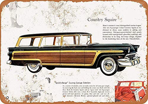 Country Squire Station Wagon Tin Wall Sign Metal Poster Plaque Warning Sign Iron Painting Art Decor for Bar Cafe Garden Bedroom Office ()