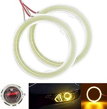 1pair Angel Eyes Car Universal COB 66SMD DRL LED Headlight White 90mm Halo Rings