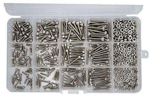 HVAZI 480pcs Metric M2 M2.5 M3 Stainless Steel Hex Socket Head Cap Screws Nuts Assortment Kit
