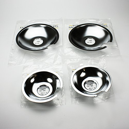 Jenn Air Range Cooktop Drip Pan Set of 4, (2) 715877 & (2) 715878