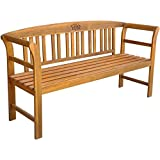 Festnight Wooden Garden Outdoor Bench with Armrest and Backsupport, 62